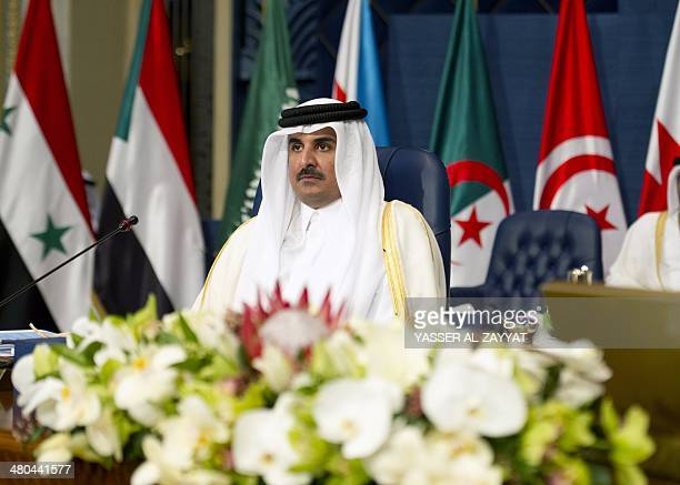 Qatar's Emir Sheikh Tamim bin Hamad alThani attends the 25th Arab League summit at Bayan palace in Kuwait City on March 25 2014 The Syrian conflict...