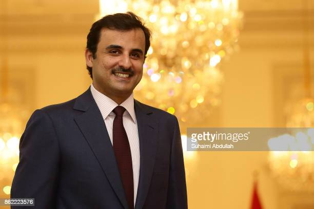 Qatar's Emir Sheikh Tamim bin Hamad alThani is seen at the Istana during his twoday state visit on October 17 2017 in Singapore It is the first state...