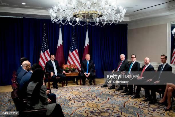 Qatar's Emir Tamim bin Hamad Al Thani US President Donald Trump US Secretary of State Rex Tillerson US Secretary of the Treasury Steven Mnuchin...