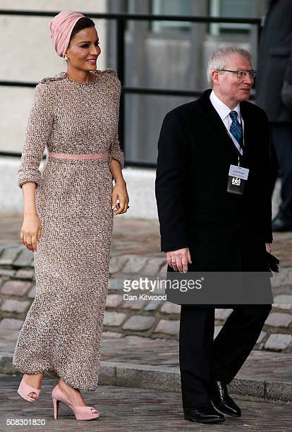 Qatar's First Lady Sheikha Mozah bint Nasser alMissned arrives at the 'Supporting Syria Conference' at The Queen Elizabeth II Conference Centre on...