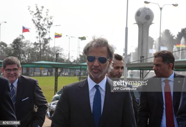 Qatar's Football Association president HE Sheikh Hamad Bin Khalifa Bin Ahmad Al Thani arrives at the CONMEBOL headquarters to attend a meeting with...