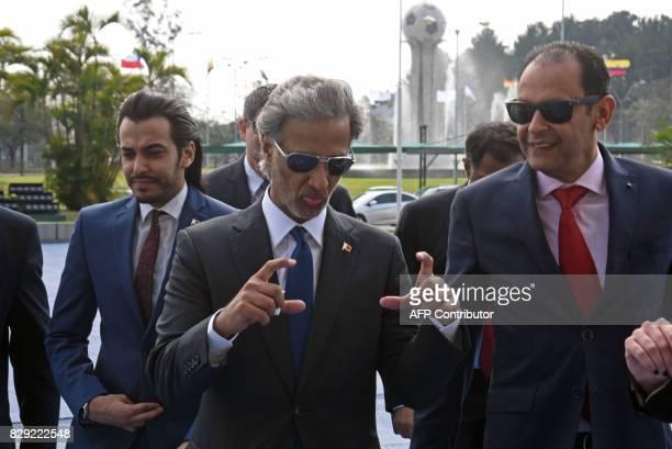 Qatar's Football Association president HE Sheikh Hamad Bin Khalifa Bin Ahmad Al Thani gestures as he arrives at the CONMEBOL headquarters to attend a...