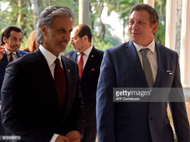Qatar's Football Association president HE Sheikh Hamad Bin Khalifa Bin Ahmad Al Thani and the president of the South American Football Confederacion...