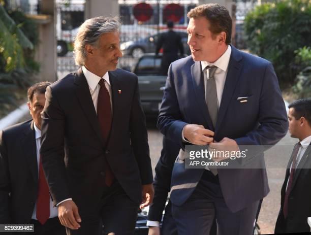 Qatar's Football Association president HE Sheikh Hamad Bin Khalifa Bin Ahmad Al Thani and the president of the South American Football Confederation...