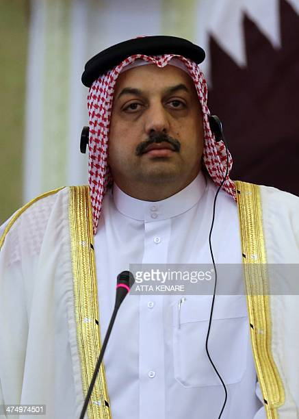 Qatar's Foreign Minister Khalid alAttiyah speaks during a joint press conference with his Iranian counterpart on February 26 2014 in Tehran AFP...