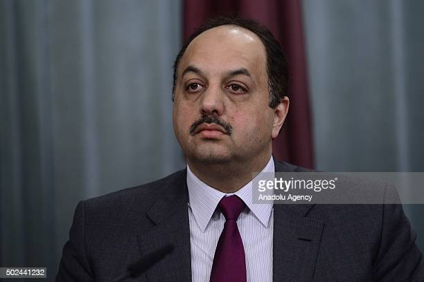 Qatar's Foreign Minister Khalid bin Mohammed Al Attiyah is seen during a joint press conference with Russian Foreign Minister Sergei Lavrov at the...