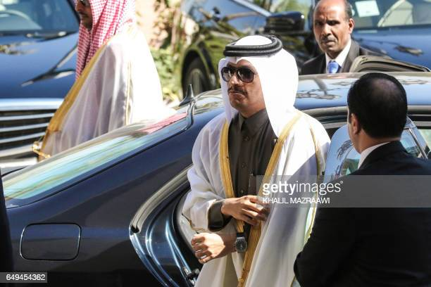 Qatar's Foreign Minister Mohammed bin Abdulrahman bin Jassim alThani arrives for a meeting with Jordanian Foreign Minister Ayman alSafadi in the...