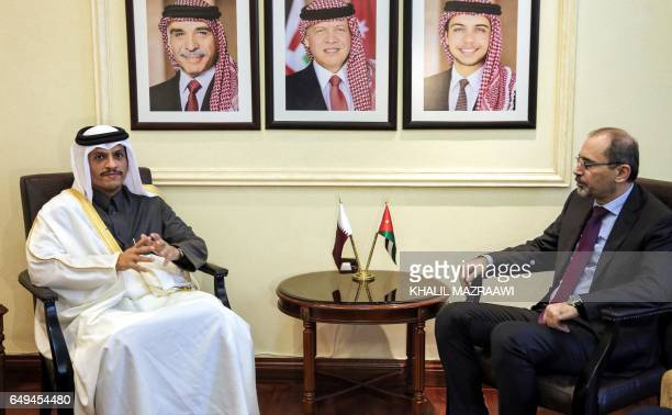Qatar's Foreign Minister Mohammed bin Abdulrahman bin Jassim alThani meets with Jordanian Foreign Minister Ayman alSafadi in the capital Amman on...