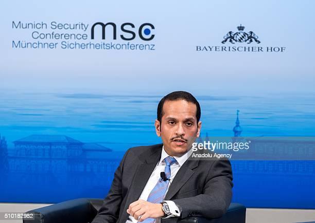 Qatar's Foreign Minister Sheikh Mohammed bin Abdulrahman bin Jassim AlThani speaks at the 2016 Munich Security Conference at the Bayerischer Hof...