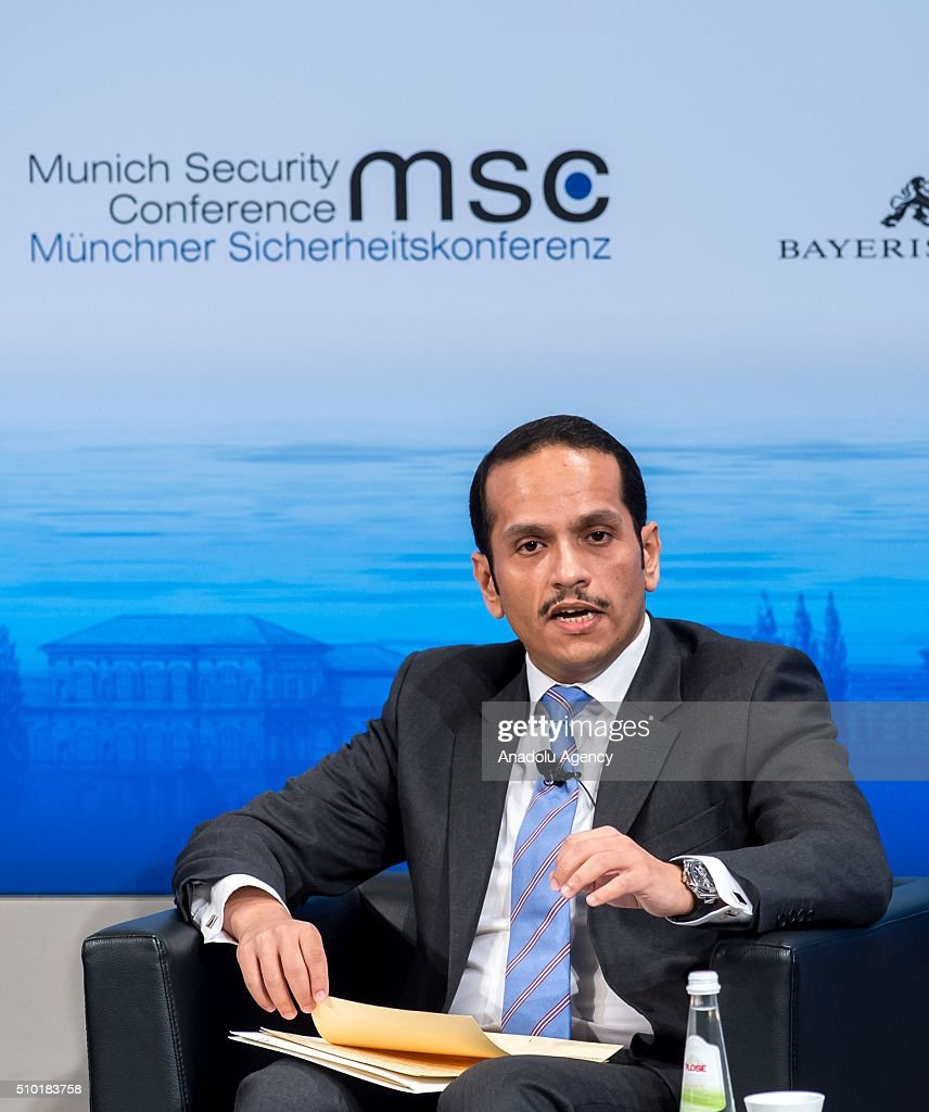 Qatar's Foreign Minister Sheikh Mohammed bin Abdulrahman bin Jassim Al-Thani speaks at the 2016 Munich Security Conference at the Bayerischer Hof hotel on February 14, 2016 in Munich, Germany. The annual event brings together government representatives and security experts from across the globe and this year the conflict in Syria will be the main issue under discussion.