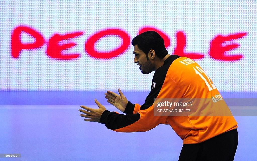 Qatar's goalkeeper Mohsin Yafai gestures during the 23rd Men's Handball World Championships preliminary round Group B match Iceland vs Qatar at the Palacio de Deportes San Pablo in Sevilla on January 18, 2013. Iceland won 39-29.