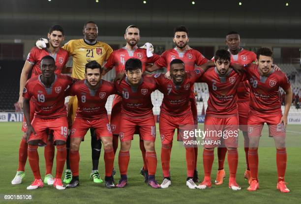 Qatar's Lekhwiya club first eleven pose for a team photo prior to the AFC Champions League football match between Lekhwiya and Iran's Persepolis FC...