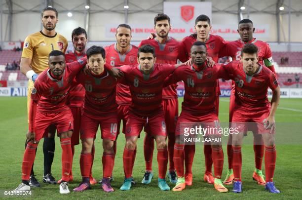 Qatar's Lekhwiya SC players pose for a picture ahead of the Asian Champions League football match between Qatar's Lekhwiya SC and UEA's AlJazira Club...