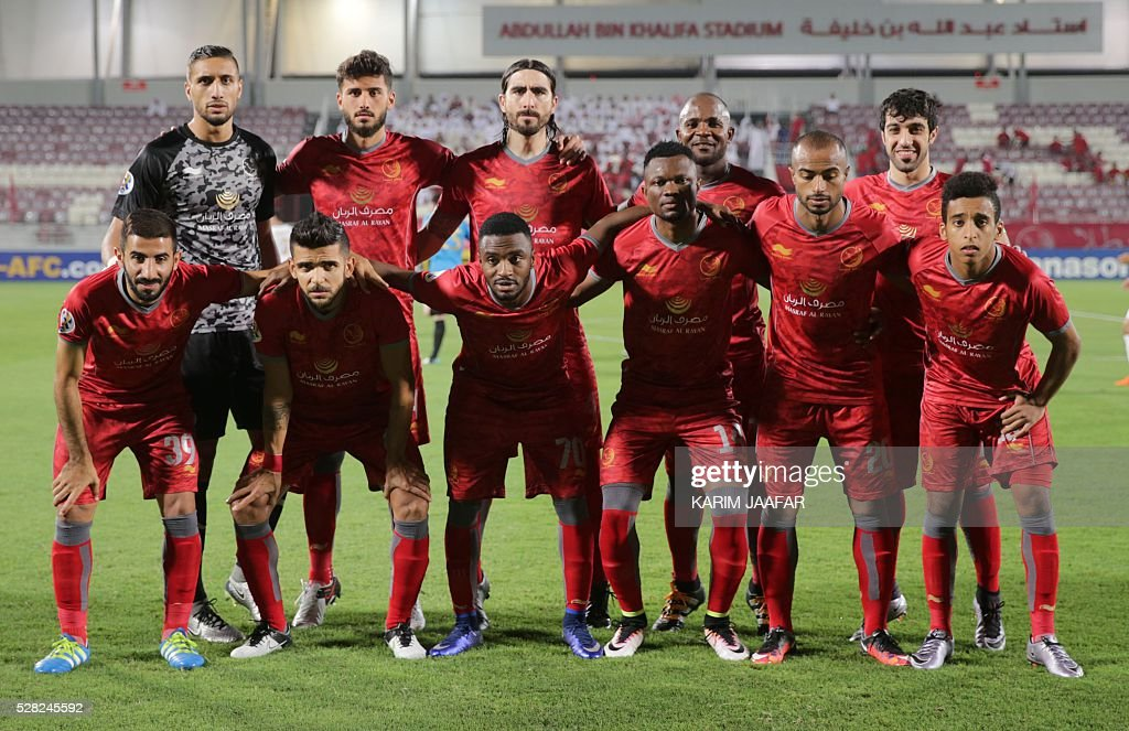 Qatar's Lekhwiya's players pose before their Asian Champions League football match against Uzbekistan's Bunyodkor club at Abdullah bin Khalifa Stadium in Doha on May 4, 2016. / AFP / KARIM