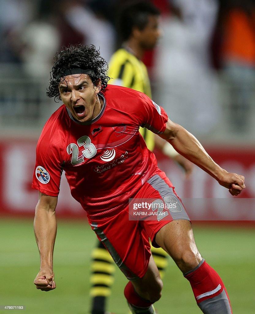 Qatar's Lekwiya player Sebastian Soria celebrates after scoring a goal against Saudi's AlIttihad during their AFC Champions League group C football...