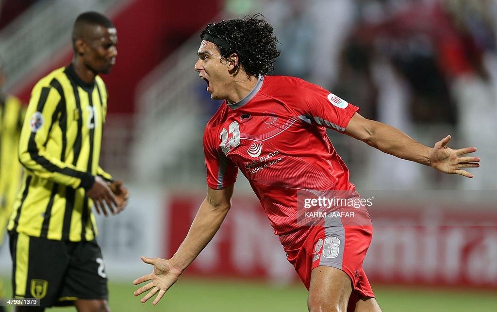 Qatar's Lekwiya player Sebastian Soria celebrates after scoring a goal against Saudi's AlIttihad club during their AFC Champions League group C...