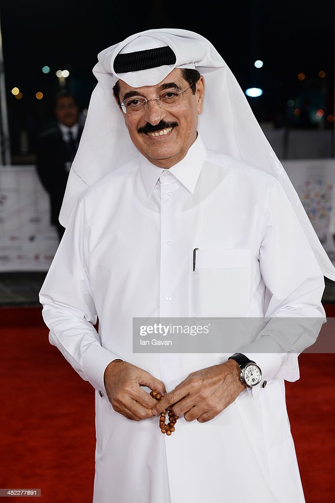 Qatar's Minister of Culture, Arts and Heritage Hamad Bin Abdulaziz Al- Kuwari attends the 'On the Way to School' Premiere during day 2 of Ajyal Youth Film Festival on November 27, 2013 in Doha, Qatar.