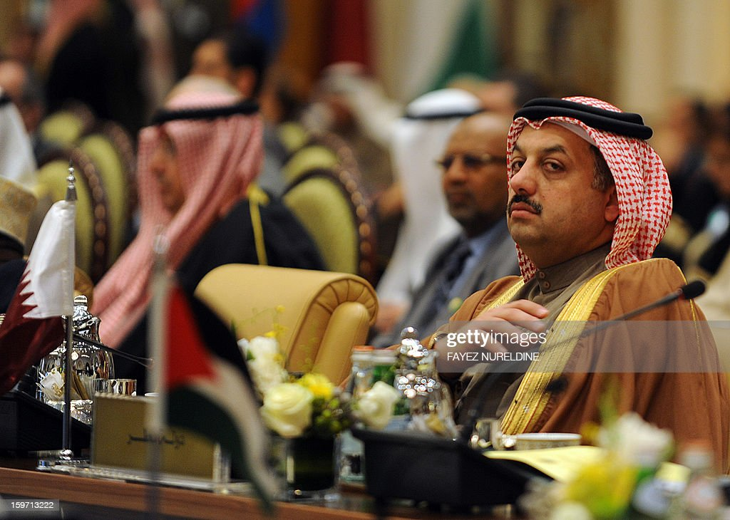 Qatar's Minister of State for Foreign Affairs Khalid bin Mohamed Al-Attiyah attends the meeting of the Arab Foreign Ministers on the eve of the third session of the Arab Economic, Social and Development Summit held in Riyadh on January 19, 2013. Saudi Arabia is due to host the Arab Economic summit for the leaders on January 21 and 22.