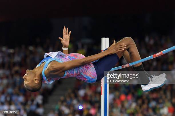 Qatar's Mutaz Essa Barshim competes and wins the men's high jump event during the IAAF Diamond League Athletics Weltklasse meeting in Zurich on...