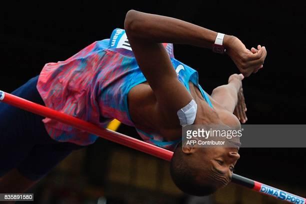 Qatar's Mutaz Essa Barshim competes in the men's high jump during the 2017 IAAF Birmingham Diamond League athletics meeting at Alexander Stadium in...