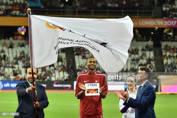 Qatar's Mutaz Essa Barshim IAAF president Sebastian Coe and Britain's Laura Muir take part in the handover ceremony on the final day of the 2017 IAAF...
