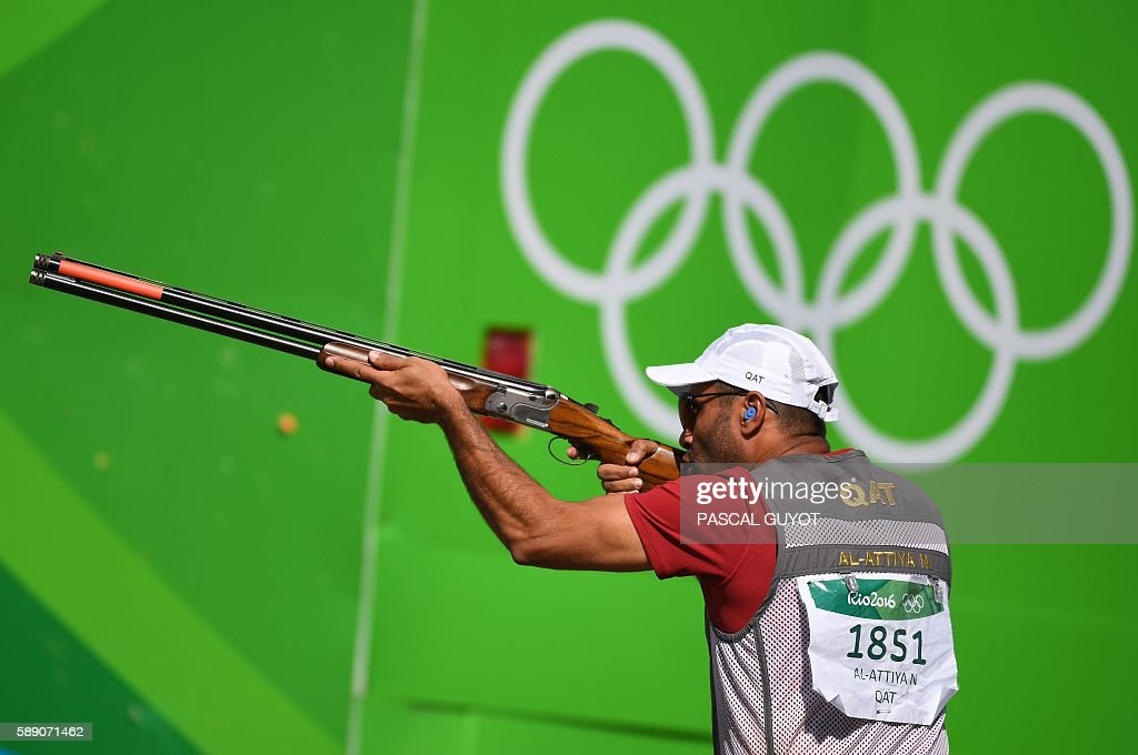 Qatar's Nasser Al Attiya competes during the Skeet men's qualifications at the Olympic Shooting Centre in Rio de Janeiro on August 13 during the Rio...