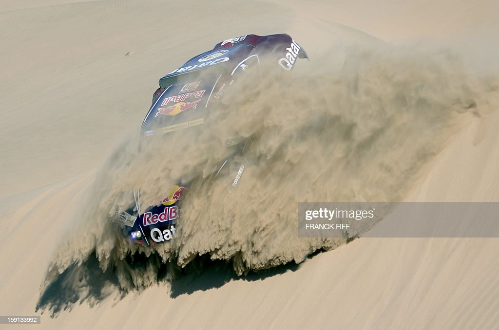 Qatar's Nasser Al-Attiyah competes during Stage 4 of the Dakar 2013 between Nazca and Arequipa, Peru, on January 8, 2013. The rally will take place in Peru, Argentina and Chile from January 5 to 20.
