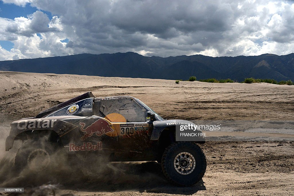 Qatar's Nasser Al-Attiyah competes during Stage 8 of the Dakar Rally 2013 between Salta and Tucuman, Argentina, on January 12, 2013. The rally takes place in Peru, Argentina and Chile from January 5-20.