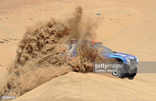 Qatar's Nasser AlAttiyah steers his Volkswagen during the 4th stage of the Dakar 2010 between Fiambala Argentina and Copiapo Chile on January 5 2010...