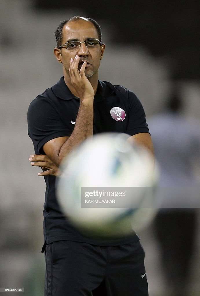 Qatar's new head coach Fahad Thani is pictured during their friendly football against Lebanon match in Doha January 31, 2013. Qatar won the match 1-0.