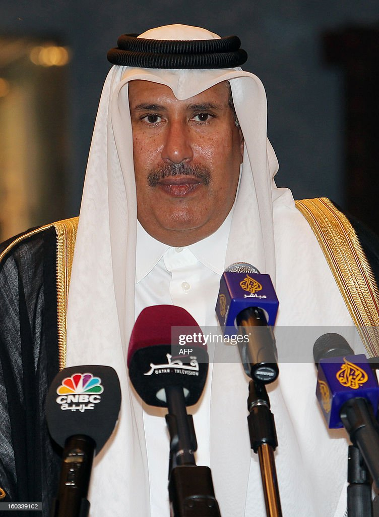 Qatar's Premier and Foreign Minister Sheikh Hamad bin Jassem bin Jabr al-Thani is seen during a joint press conference with Greece's Prime Minister Antonis Samaras (not pictured), in Doha, on January 29, 2013.