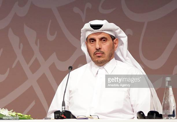 Qatar's Prime Minister Abdullah bin Nasser bin Khalifa Al Thani holds a press conference with UN Secretary General Ban Kimoon after the opening day...