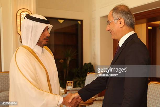 Qatar's Prime Minister and Interior Minister Abdullah bin Nasser bin Khalifa Al Thani shakes hands with Turkish Interior Minister Efkan Ala ahead of...