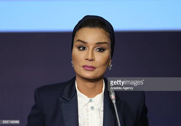 Qatar's Sheikha Moza bint Nasser delivers a speech during a session named 'Education in Emergencies and Protracted Crises' held within World...
