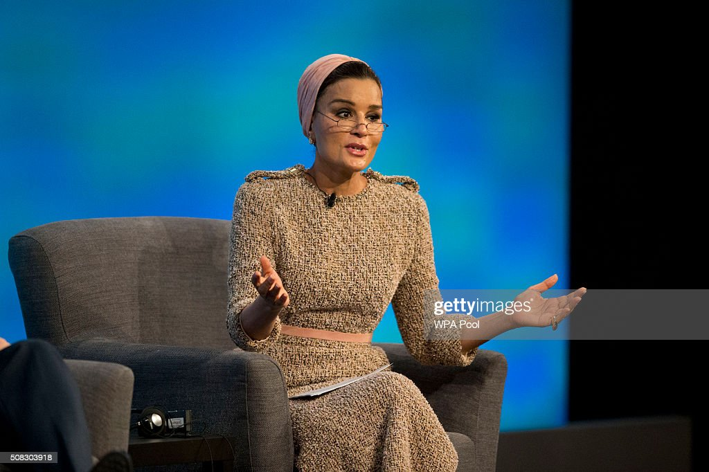 Qatar's Sheikha Moza bint Nasser speaks during the first focus event on education at the 'Supporting Syria and the Region' conference at the Queen Elizabeth II Conference Centre on February 4, 2016 in London, England. World leaders including British Prime Minister David Cameron and German Chancellor Angela Merkel will gather for the 4th annual donor conference in an attempt to raise £6.2bn GBP to those affected by the war in Syria.