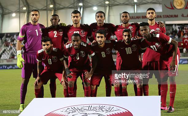 Qatar's starting eleven pose for a group picture ahead of their friendly football match against Turkey in the capital Doha on November 13 2015 OUT==