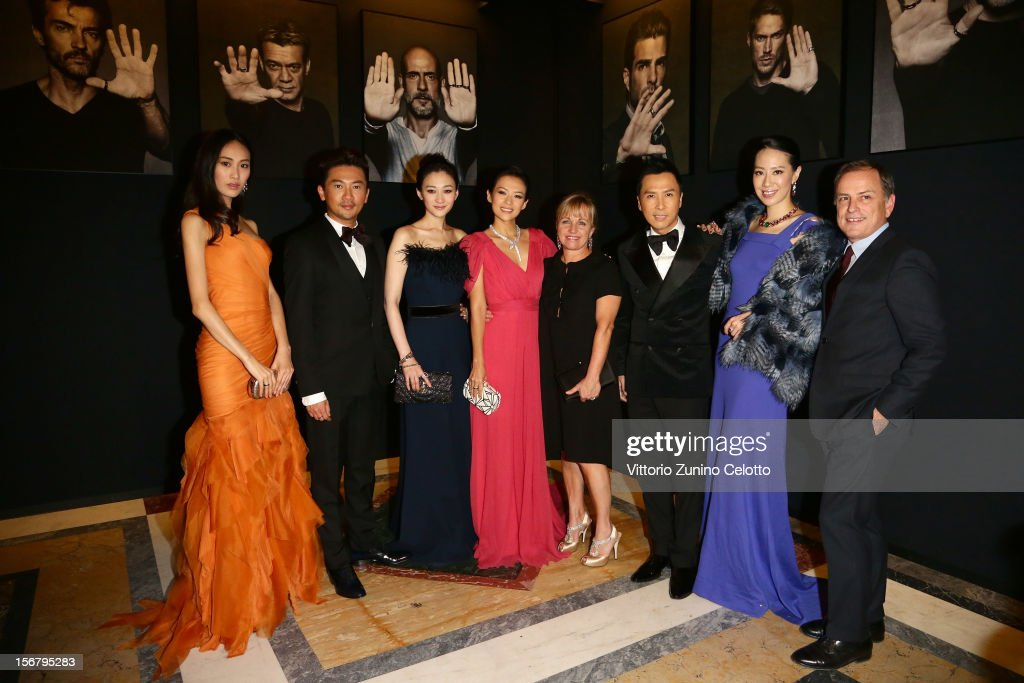 Qi Shu Pei, Su You Peng, Li Xiaoran, <a gi-track='captionPersonalityLinkClicked' href=/galleries/search?phrase=Zhang+Ziyi&family=editorial&specificpeople=172013 ng-click='$event.stopPropagation()'>Zhang Ziyi</a>, Brigitte Burke, <a gi-track='captionPersonalityLinkClicked' href=/galleries/search?phrase=Donnie+Yen&family=editorial&specificpeople=235559 ng-click='$event.stopPropagation()'>Donnie Yen</a>, Cecilia Wang and Michael Burke attend the Bulgari 'Stop Think Give' exhibition preview and cocktail at Palazzo Pecci Blunt on November 15, 2012 in Rome, Italy.