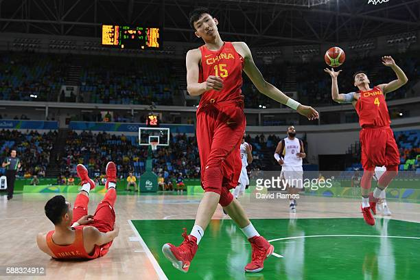Qi Zhou of China reacts during the men's preliminary round group A game 33 against Venezuela on Day 5 of the Rio 2016 Olympic Games at the Carioca...