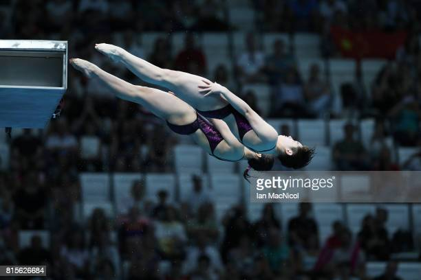 Qian Ren and Yajie Si of China compete in the final of the Women's 10m Synchro Platform during day three of the 2017 FINA World Championship on July...