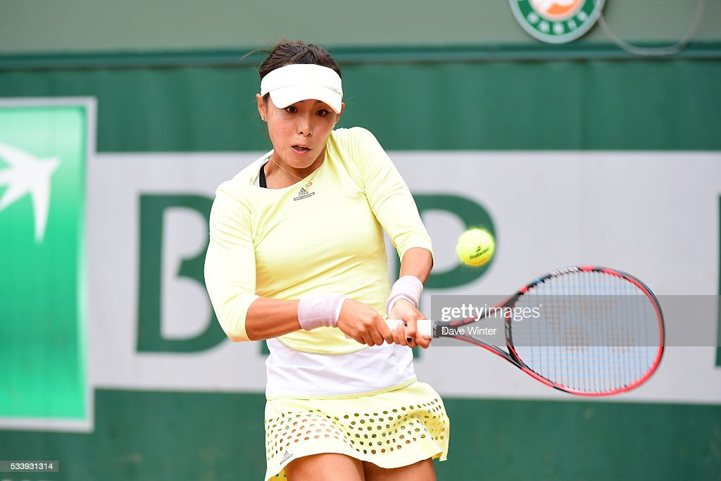 Qiang Wang during the Women's Singles first round on day three of the French Open 2016 at Roland Garros on May 24, 2016 in Paris, France.