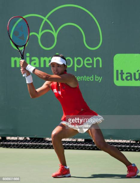 Qiang Wang in action during the Miami Open on March 22 at the Tennis Center at Crandon Park in Key Biscayne FL