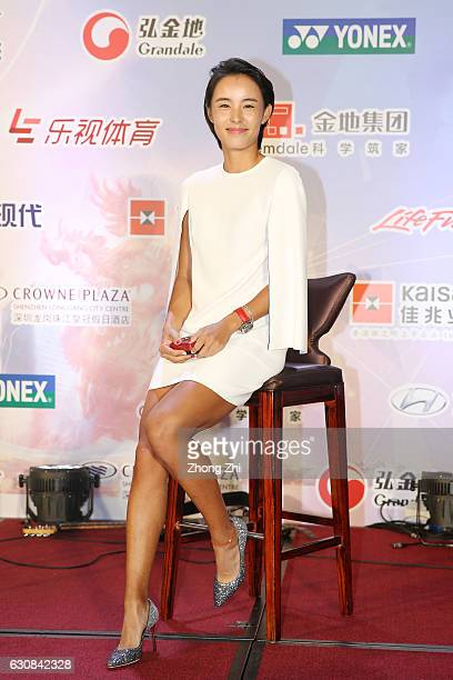Qiang Wang of China attends Players Party during Day 3 of 2017 WTA Shenzhen Open at Crowne Plaza Shenzhen Longgang City Centre on January 3 2017 in...