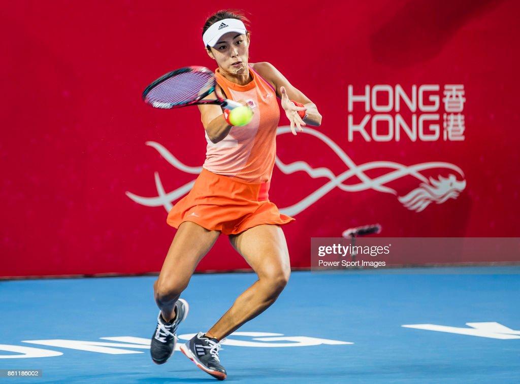 Qiang Wang of China hits a return during her womenÕs singles semi-final match of the Prudential Hong Kong Tennis Open 2017 between Qiang Wang of China and Anastasia Pavlyuchenkova of Russia at Victoria Park on October 14, 2017 in Hong Kong, Hong Kong.