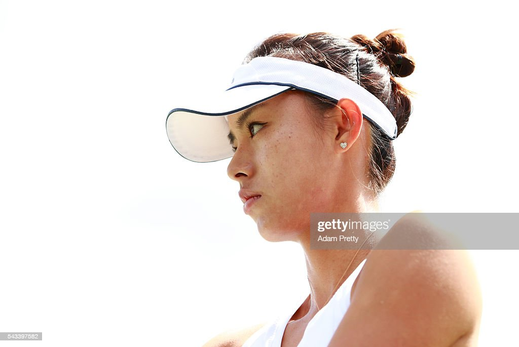 Qiang Wang of China looks on during the Ladies Singles first round match against Daria Gavrilova of Australia on day two of the Wimbledon Lawn Tennis Championships at the All England Lawn Tennis and Croquet Club on June 28, 2016 in London, England.