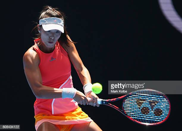 Qiang Wang of China plays a backhand in her first round match against Sloane Stephens of the United States during day one of the 2016 Australian Open...