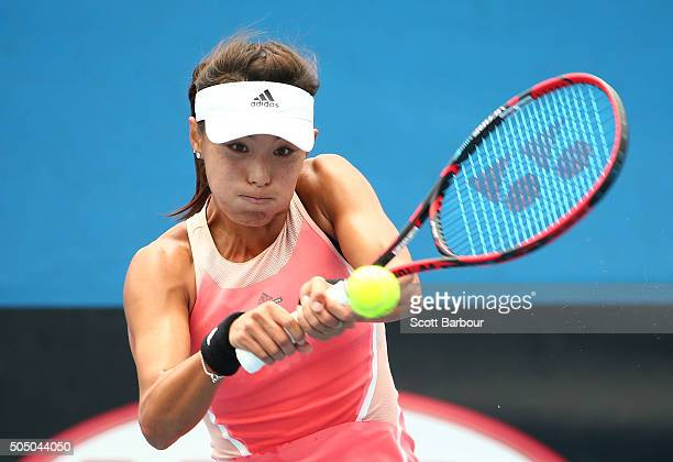 Qiang Wang of China plays a backhand in her match against Zhaoxuan Yang of China during round two of 2016 Australian Open Qualifying at Melbourne...