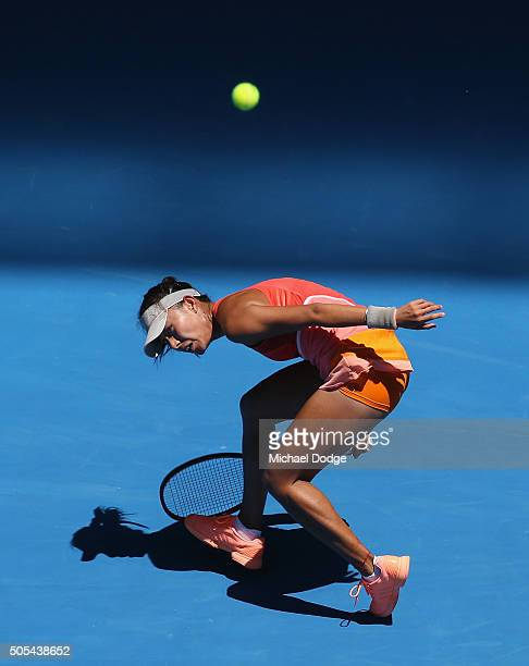 Qiang Wang of China plays a forehand her first round match against Sloane Stephens of the United States during day one of the 2016 Australian Open at...