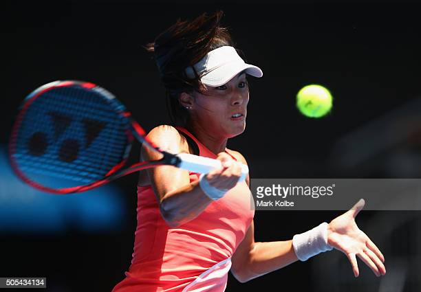 Qiang Wang of China plays a forehand in her first round match against Sloane Stephens of the United States during day one of the 2016 Australian Open...