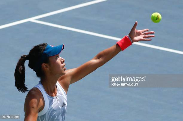 Qiang Wang of China serves to Daria Kasatkina of Russia during their 2016 US Open Women's Singles match at the USTA Billie Jean King National Tennis...