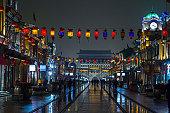 Qianmen pedestrian street at night  in Winter